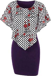 QueenMM🍀Plus Size Dress for Women, Women's 1920s Dress Vintage Embellished Rose Print Long Slim Fit Pencil Cocktail Dress