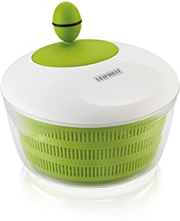 Leifheit Essoreuse à salade en plastique Trend, mécanisme d'essorage à manivelle, bouton ergonomique, utilisable comme sal...