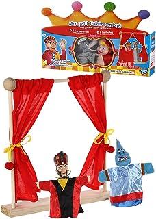 Mon petit théâtre en bois et mes 2 marionnettes Aladin et le génie