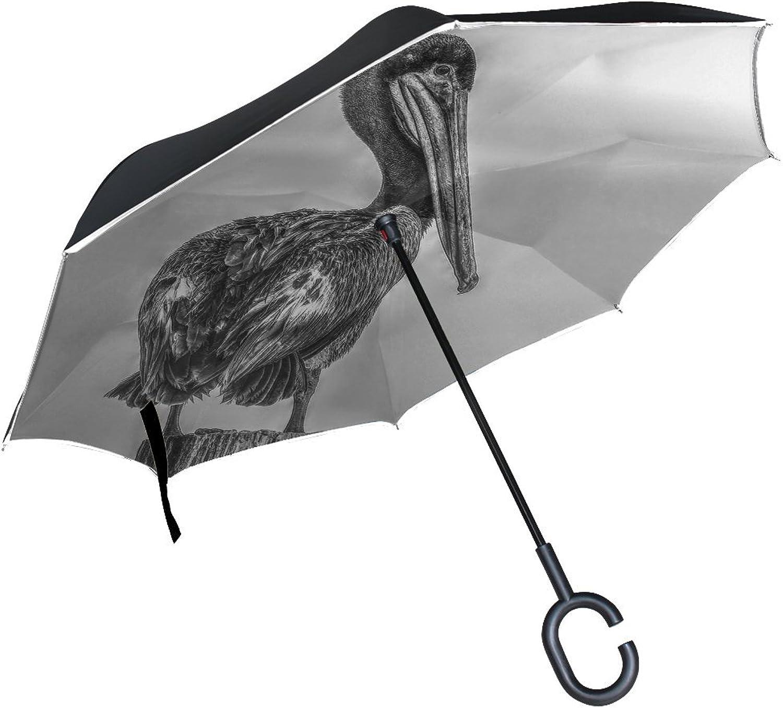 Animal Brid Pelikan Blackandwhite Ingreened Umbrella Large Double Layer Outdoor Rain Sun Car Reversible Umbrella