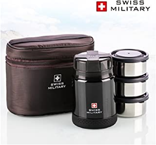 Swiss Military Premium Vacuum Thermos Lunchbox - 470ml - 3 Stage Food Container 200ml x 3P - Black