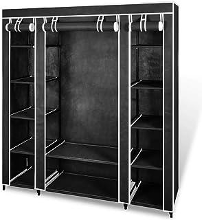 vidaXL Armoire avec Compartiments et Tiges Noir Rangement Penderie Garde-Robe