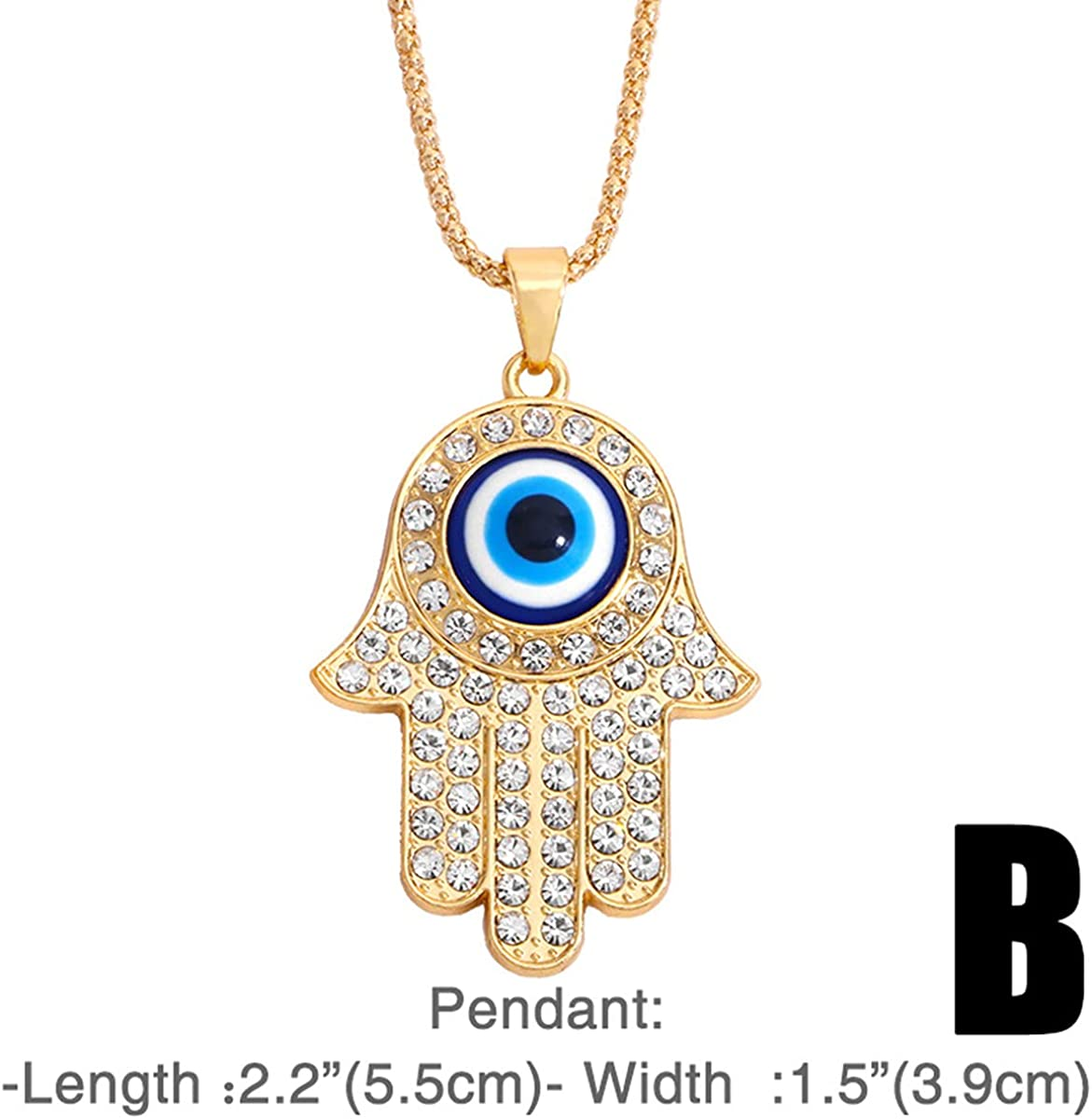 Crystal Colorful Rhinestone Hamsa Hand Fatima Palm Sweater Chain Collar Teardrop Evil Eye Big Pendant Necklaces Turkey Choker for Women Girls Elegant Jewelry