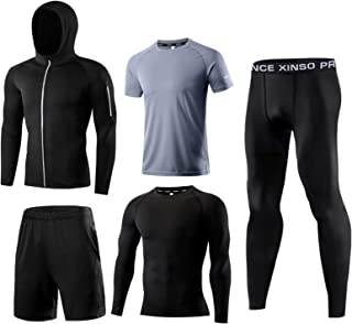 Men's Casual Tracksuit 5-Piece Men's Sportswear Suit, Leggings, Long-Sleeved Shirt and Loose Shorts Jacket and Short Sleev...