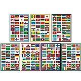 Sourcemall - Adhesivos de PVC para banderas internacionales de país (impermeables, PVC, 7 paquetes, 224 unidades, cada banderín de 3 x 1,3 pulgadas)