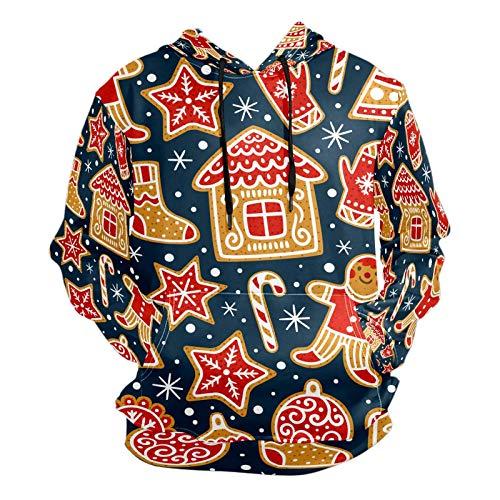 Mode 3D Druck Cartoon Weihnachten Biscuit - Lovely Red Yellow Pattern Unisex Pullover Coole Hoodies mit Kängurutasche für Damen und Herren Gr. M, Mehrfarbig