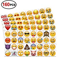 Konsait Tatuajes temporales Emoji (160pcs 2inch), Emoji cumpleaños Tatuajes Adhesivos Impermeables para Mujeres Hombres Infantiles niños Fiestas Regalo Juguete de cumpleaños piñata