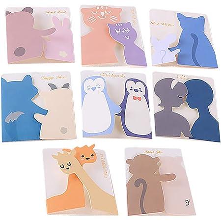 moin moin メッセージ カード 動物 アニマル 小さめ ミニ 寄り添う 人 平和 後ろ姿 カップル 恋人   カード + 封筒 × 8種セット (熊とうさぎ   猫とねずみ   鹿   ねこの親子   ペンギン   人   イノシシとぶた   オオカミと子羊) 2007me112