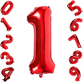 40 Inch Large Red Number 1 Helium Balloon,Foil Digital Balloons for Birthday Decorations