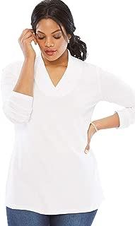 Roamans Women's Plus Size Shawl Collar Ultimate Tee