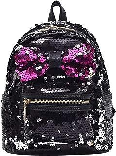 Women Shining Sequins Bowknot Backpack Summer Big Capacity Portable Schoolbag Black
