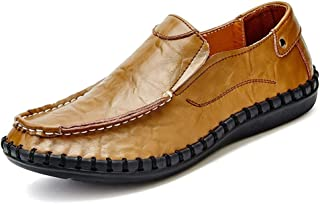 HUANGAIHUA Leisure Driving Loafers for Men Casual Flat Penny Shoes Slip-on Stitch Round Toe Elastic Genuine Leather Lightweight Non-slip