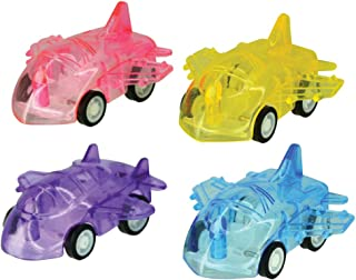 Kipp Brothers Translucent Plastic Toy Car Airplane Toys with Wheels - Pack of 12