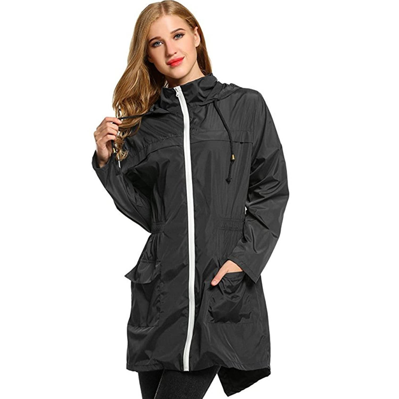通気性のある ブラック 巾着 フード付き レインコート Ms. ウエスト ジャケット レインコート ウインドブレーカー ロングセクション レインコート (サイズ : S)