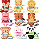 Skylety 9 Pieces Animal Lacing Cards Wooden Lacing and Tracing Sewing...
