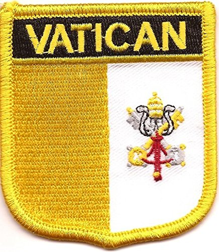 Vatican Flag Patch / International Shield Iron On Badge (Vatican Crest, 2.75 x 2.35)