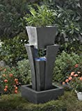 "35.4"" LED Lighted Modern Raining Outdoor Patio Garden Water Fountain with Planter"