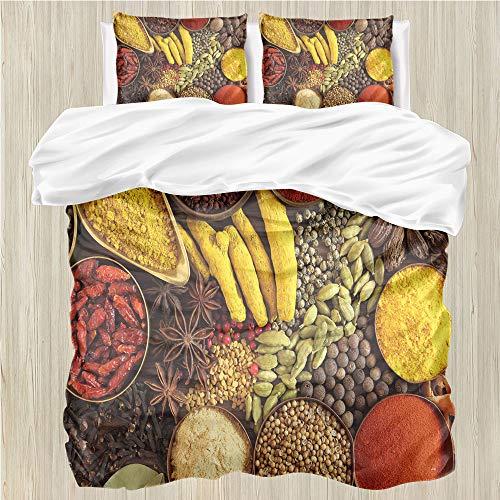 LanQiao - Funda de edredón, diseño de hierbas tradicionales y especias en cuencos de chile de temporada, 1 funda de edredón y 3 fundas de almohada, cierre de cremallera,...