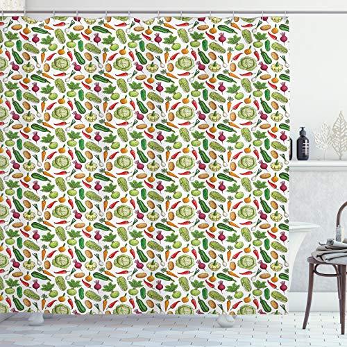 ABAKUHAUS Gemüse Duschvorhang, Detaillierte Farbige Foods, aus Stoff inkl.12 Haken Digitaldruck Farbfest Langhaltig Bakterie Resistent, 175x200 cm, Mehrfarbig