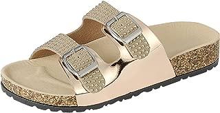 Cambridge Select Women's Slip-on Open Toe Studded Two Strap Buckle Flat Slide Sandal