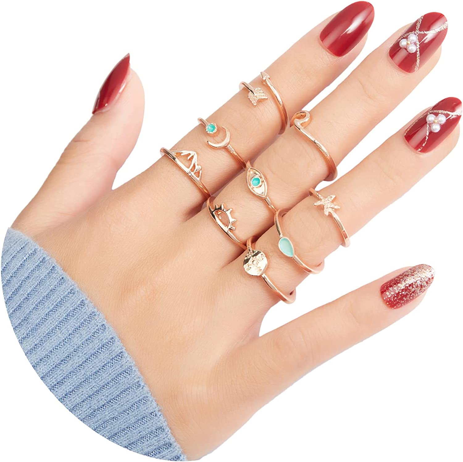 9 Pcs Gold Stackable Rings for Women Knuckle Stacking Ring Set for Teen Girls Adjustable Finger Rings as Trendy Jewelry Gifts for Teens Girl and Women