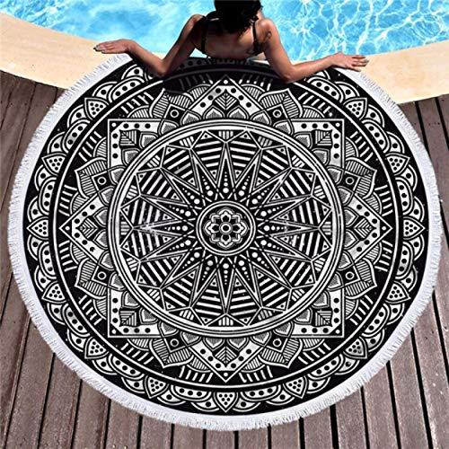 GermYan Mandala Toalla de Playa Redonda con Borla Estera de Microfibra Colcha Tapiz Manta Toalla de baño de natación