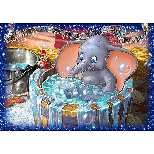 DIY Diamond Painting Full Round Drill Crystal Rhinestone Embroidery Cross Stitch Arts Craft Canvas Wall Decor Elephant Bathing in A Bathtub 15.7x11.8 in by UM UPMALL