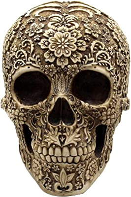 ZAMTAC Resin Skull Realistic Human Skull Gothic Halloween Decoration Ornament Figurines Miniatures Decoration Crafts Home Decor