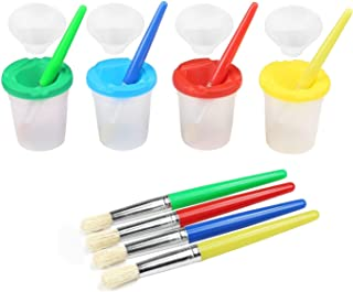 Nrpfell 4 Colors Spill-Proof Paint Bottles with Lids and 4 Pieces Assorted Colors Paint Brushes for Children