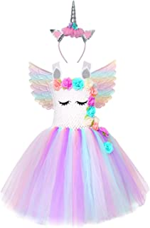 Girl Unicorn Costume, Baby Unicorn Tutu Dress Outfit Princess Party Costumes with Headband and Wings