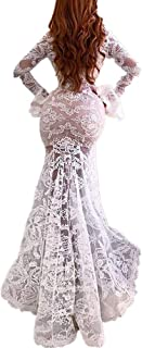 Sexy Bodycon Lace Dress, QIQIU Women's V-Neck Mermaid Beach Long Sleeve Wedding Cocktail Prom Gown Dress