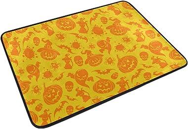Mydaily Halloween Pumpkin Cat Bat Doormat 15.7 x 23.6 inch, Living Room Bedroom Kitchen Bathroom Decorative Lightweight Foam