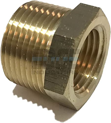 "Edge Industrial Brass Reducing Hex Bushing 3/4"" Male Npt x 1/2"" Female Npt Fuel/Air/Water/Oil/Gas/Wog (Qty 01)"