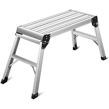 Work Platform Hop Up silver 2 Step Ladder Raised Aluminium Standing Work Bench Anti-Slip Foldable Design,4 Adjustable Heights