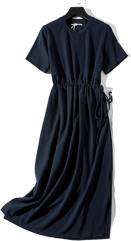 Long TShirt Women Summer Sashes Waist Slit ONeck Short Sleeve Loose AnkleLength Dress Woman
