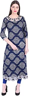 Vihaan Impex Indian Tunic Long Cotton Printed Women Dress Partywear Kurtis For Women Blue