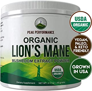 Organic Lions Mane Mushroom Powder by Peak Performance. USA Grown USDA Organic Lion's Mane Powder Nootropic Supplement for Memory, Focus, Brain Health, Immune Support. Lion Mane Mushrooms Extract