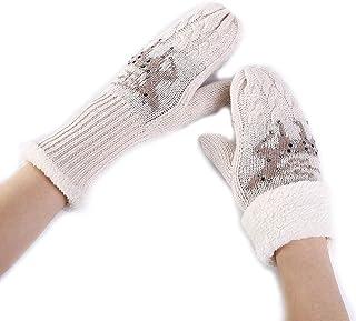 Bold N Elegant Warm Fuzzy Reindeer Fur Fleece Mittens Mitts Gloves Winter Christmas Thermal Winter Accessories Hand Arm Wr...