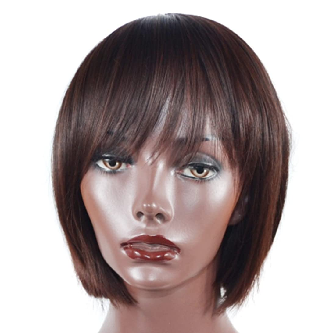 有彩色ののホスト砲撃Doyvanntgo 自然な現実的なかつら - 40センチメートルボボショートストレートウィッグダークブラウンヘア斜めバングズ学生の毛 (Color : Dark brown)