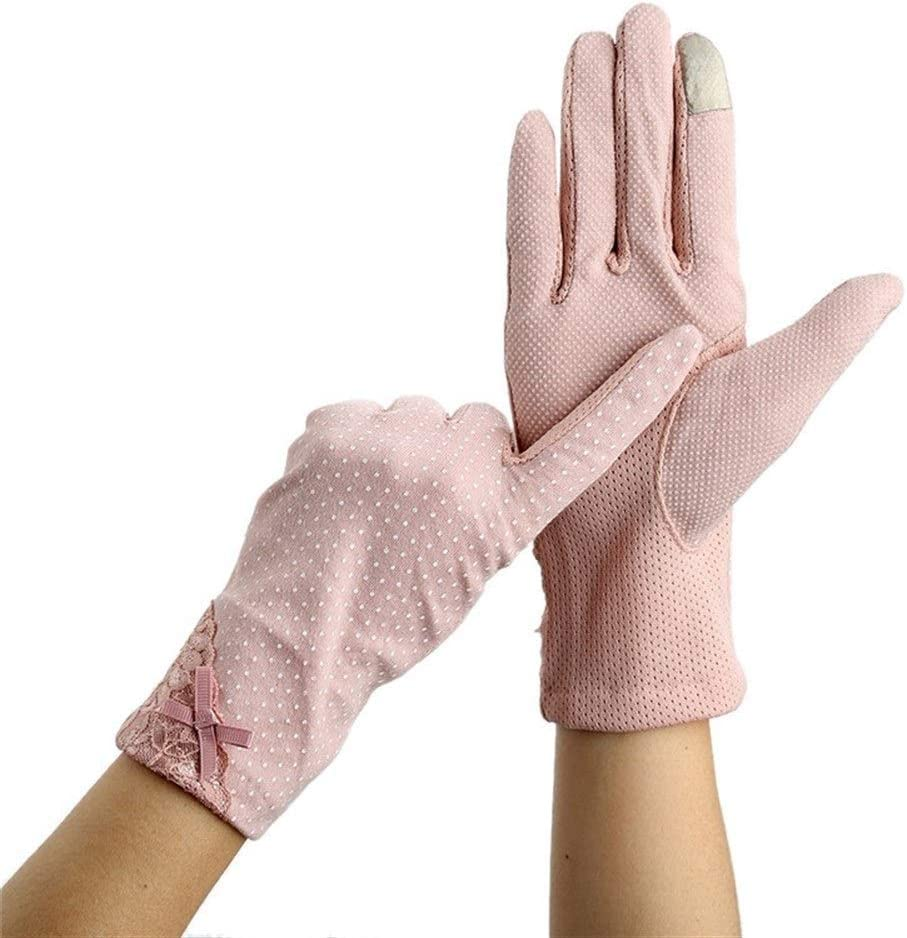 FASGION Women Lace Sunscreen Gloves Summer Spring Lady Stretch Touch Screen Anti Uv Slip Resistant Driving Glove Breathable Guantes (Color : 2)