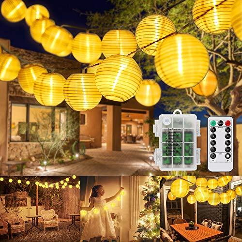 OVAREO Lampion Lichterkette Außen,Lampions Lichterkette,10m 40 Lichterkette Aussen Wasserdicht Lichterkette Außen für Party, Balkon, Fest Deko