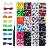 SOSMAR Cuentas de letras, cubos coloridos, letras del alfabeto A-Z para enhebrar con cuentas redondas de la A a la Z para pulseras, collares, joyas y manualidades, juego de 1150 unidades