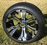 14' VAMPIRE Machined/Black Aluminum Wheels and 205/30-14' DOT Street Golf Cart Tires - Set of 4