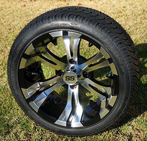 "14"" VAMPIRE Machined/Black Aluminum Wheels and 205/30-14"" DOT Street Golf Cart Tires - Set of 4"