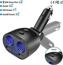 Rocketek USB Car Charger Splitter Adapter, 2 Socket Cigarette Lighter Multi Power Outlet 12V/24V 80W DC with LED Voltmeter Switch Dual USB Port for Mobile Phone Tablet GPS Dash Cam Samsung Tomtom