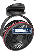 10000mAh Battery Operated Clip On Fan with Hanging Hook, Super Strong Airflow, 4 Speeds,..