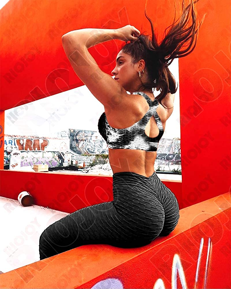 RIOJOY Honeycomb Sports Bra Women Tie-dye Bubble Textured Mid Impact Support Padded Yoga Gym Top