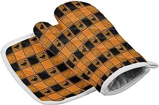 Hgfyef - Juego de manopla y soporte para ollas, color negro y naranja a cuadros con guantes de horno para gato, resistencia al calor, linterna Jack O'L para Halloween