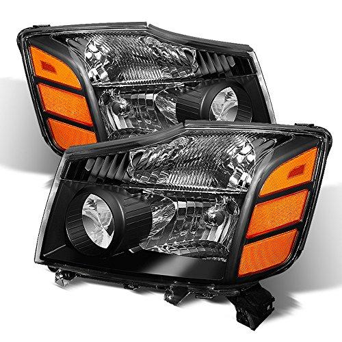 ACANII - For 2004-2015 Nissan Titan 04-07 Armada Black Headlights Headlamps Driver + Passenger Side 04-15 set