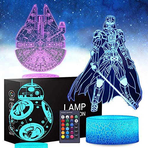 Star Wars Luz nocturna 3D, juguetes de Star Wars para niños, divertidas ideas para regalos para hombres, fiestas, Navidad, cumpleaños, regalo para niños, niñas y niños (3 unidades)